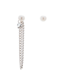 ASYMMETRICAL PEARL CHAIN EARRINGS