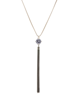 GLASS STONE AND TASSEL NECKLACE