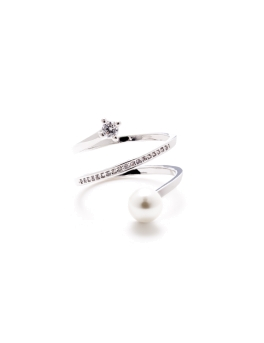 PEARL AND CUBIC ZIRCONIA RING