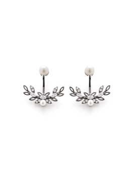 PEARL AND CZ GUNMETAL EARRINGS