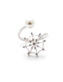 PEARL AND MYSTERY WEB RING