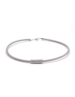 BAR AND FINE MESH CHOKER NECKLACE