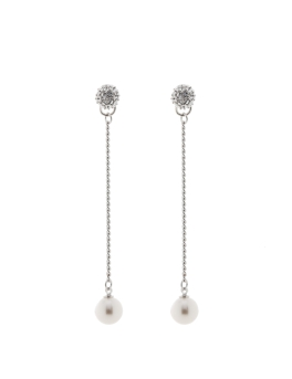 CRYSTAL SPHERES AND PEARLS EARRINGS