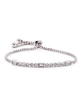 RECTANGLE AND ROUND CZ BRACELET