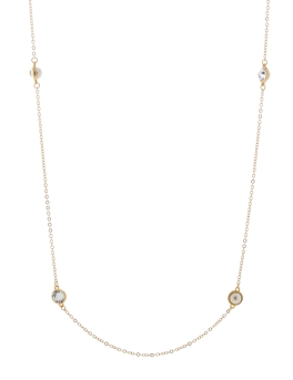PEARLS N CRYSTALS GOLD NECKLACE