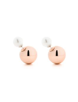 PEARLS ROSEGOLD SPHERES EARRINGS