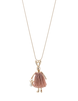 PINK BUNNY IN DRESS NECKLACE