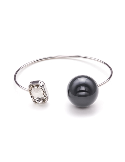 GREY SPHERE CUBIC RHODIUM BANGLE