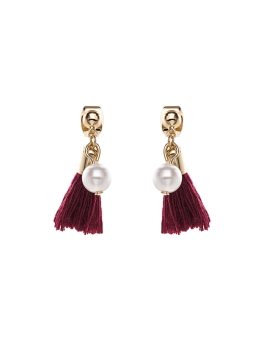 MAROON TASSEL PEARLS EARRINGS
