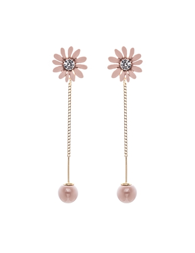BEIGE FLORAL DANGLING EARRINGS