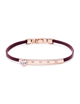 WINE LEATHER ROSEGOLD BRACELET