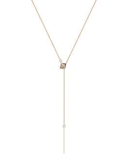 BAR AND CUBIC STONE GOLD NECKLACE