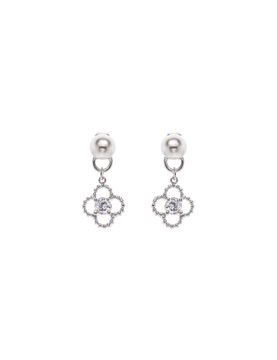 PEARLS CLOVER RHODIUM EARRINGS