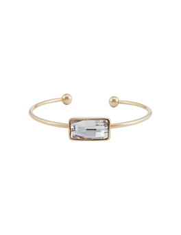 OBLONG CRYSTAL GOLD BANGLE