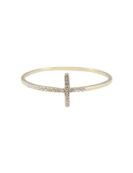 CRYSTAL T GOLD BANGLE