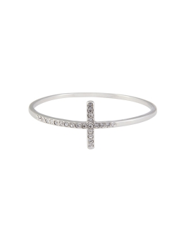 CRYSTAL T RHODIUM BANGLE