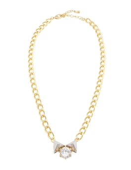 CRYSTAL BOW GOLD NECKLACE