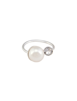 OPEN PEARL CRYSTAL RING