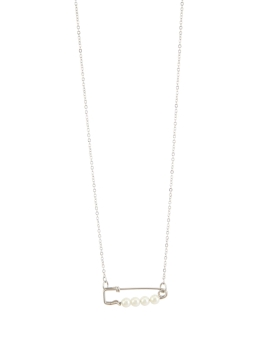 SAFETY PIN RHODIUM NECKLACE