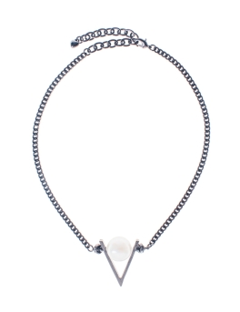 V PEARL GUNMETAL NECKLACE