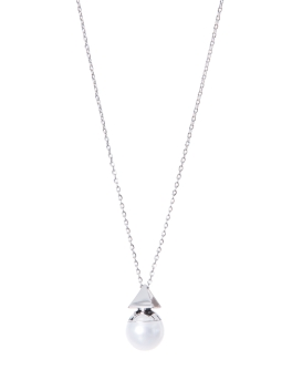 PYRAMID PEARL RHODIUM NECKLACE