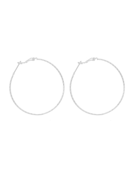 THIN HOOP RHODIUM EARRINGS