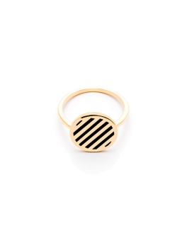 BLACK STRIPES GOLD RING