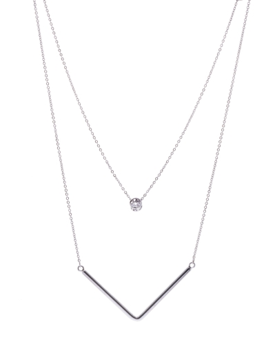 DOUBLE ROW RHODIUM NECKLACE