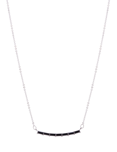 BLACK CRYSTAL CURVED BAR NECKLACE