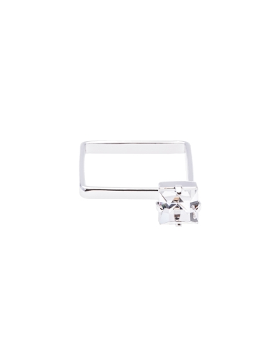 CZ SQUARE RHODIUM RING