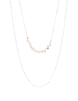 FRESHWATER PEALS RHODIUM NECKLACE