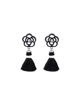 BLACK WHITE FLORAL TASSEL EARRINGS