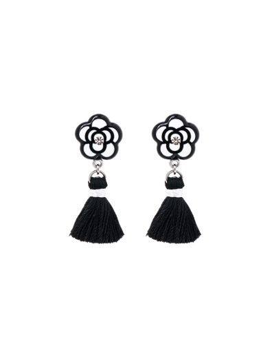 Black White Floral Tassel Earrings Jemsa