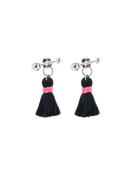 BLACK TASSEL WITH PINK EARRINGS