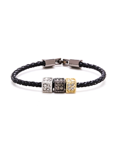 CUBES BLACK LEATHER BRACELET