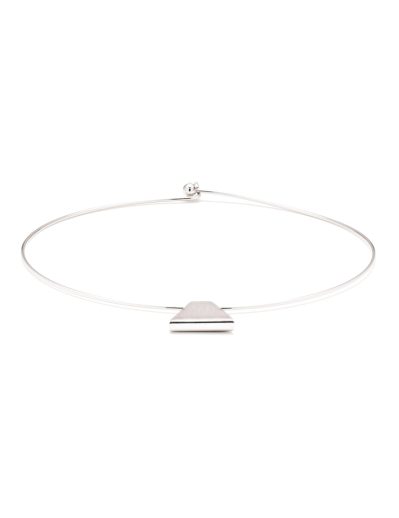 REVERSIBLE TRIANGLE RHODIUM CHOKER