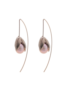 CHOCO BROWN PEARL BUD EARRINGS