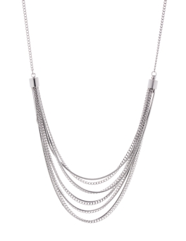 MULTI STRAND FLUID RHODIUM NECKLACE