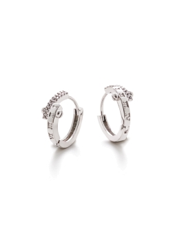 LUXE CZ HOOP RHODIUM EARRINGS