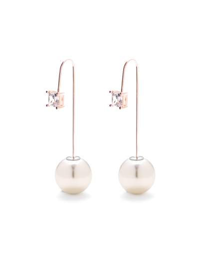 KATE CUBIC PEARLS ROSEGOLD EARRINGS
