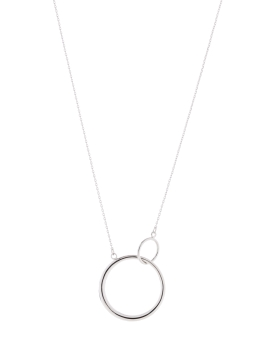 DOUBLE CIRCLE RHODIUM NECKLACE