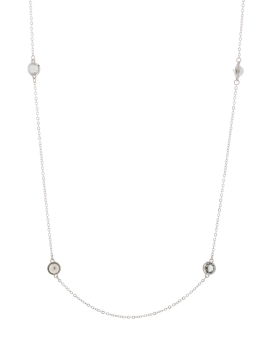PEARLS N CRYSTALS RHODIUM NECKLACE