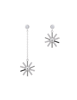 AVA ASYMMETRICAL RHODIUM EARRINGS