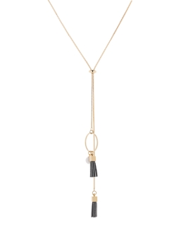 GREY TASSEL GOLD NECKLACE