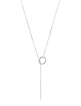BAR AND CIRCLE RHODIUM NECKLACE