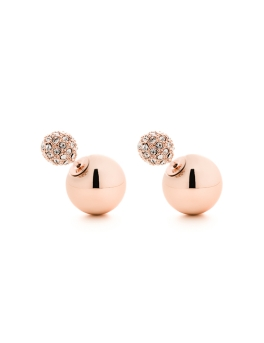 CRYSTALS ROSEGOLD SPHERES EARRINGS