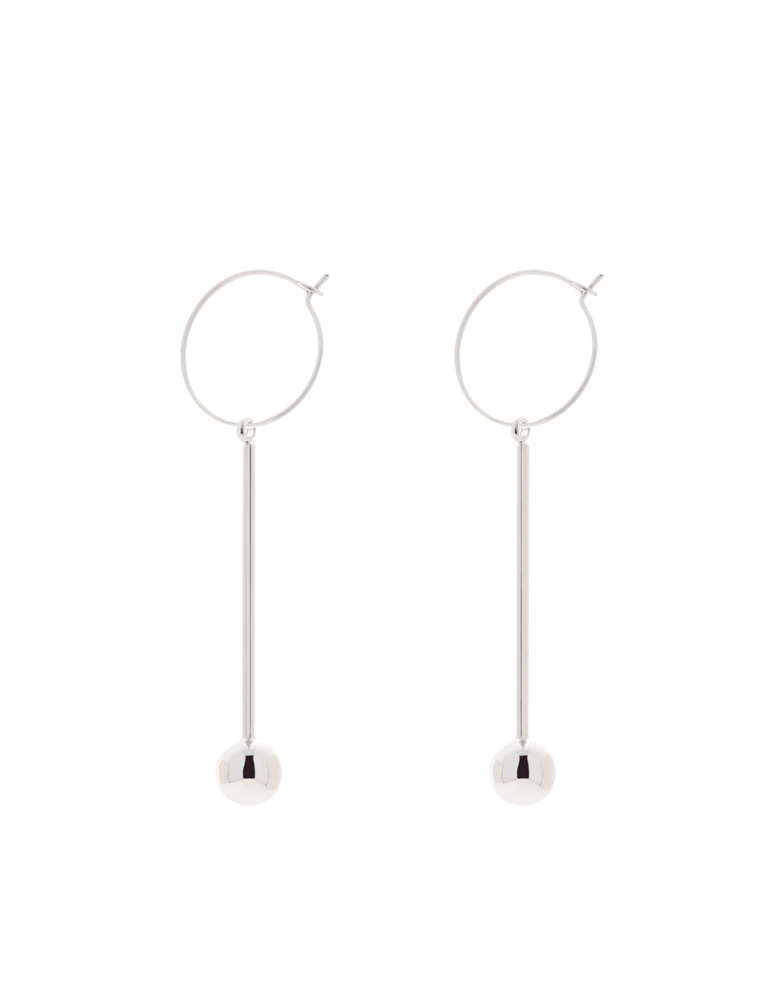 SIMPLE DESIGN RHODIUM EARRINGS - Jemsa