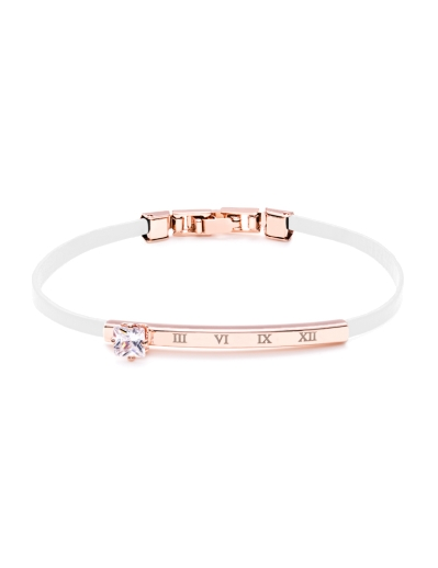 WHITE LEATHER ROSEGOLD BRACELET