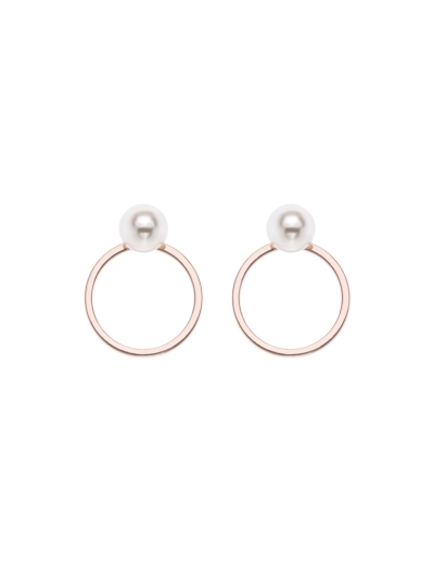 PEARLS CIRCLE ROSEGOLD EARRINGS