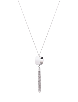 TASSEL AND RING RHODIUM NECKLACE